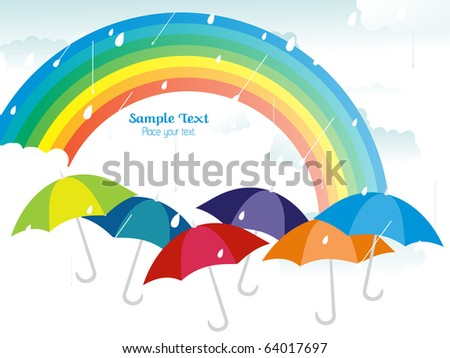 rain falling background with rainbow and colorful umbrellas