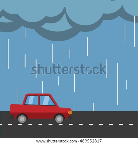 rain falling down on car vector