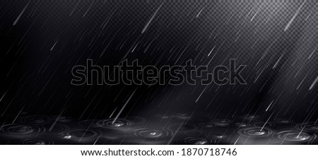 Rain, falling water drops and puddle ripples on transparent background. Shower droplets, storm or downpour texture, pure aqua pattern, fall season rainy weather, Realistic 3d vector illustration