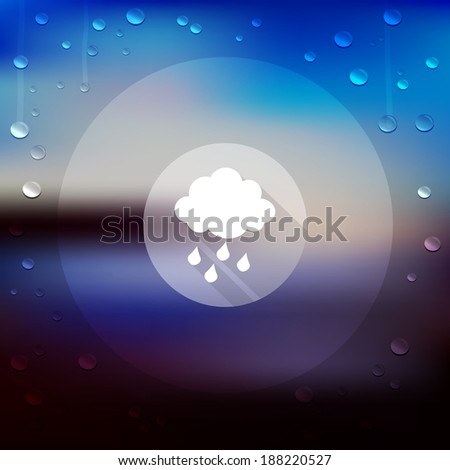 Rain icon on blurry landscape. Vector unfocused landscape. Raindrops. Web design