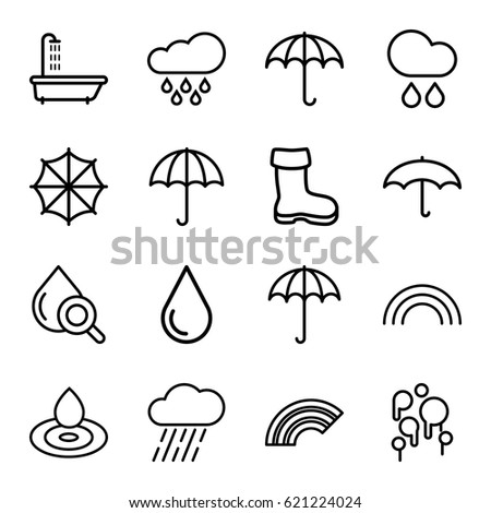 rain icons set set of 16 rain