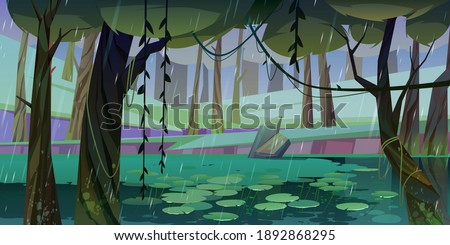 Rain in forest with swamp or lake and water lilies floating. Nature landscape with marsh in deep wood. Fantasy mystic scenery background with wild pond covered with ooze, Cartoon vector illustration