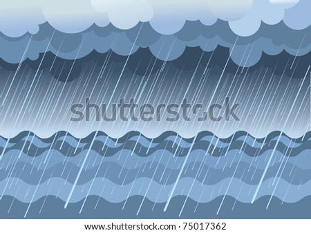 rain in seavector water