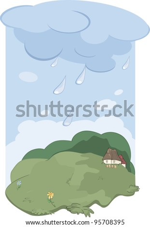Rain in village. Landscape