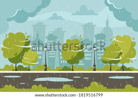 Rain on city background. Rainy and windy day. Vector illustration in flat style. Foto stock ©