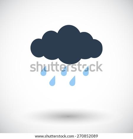 Rain. Single flat icon on white background. Vector illustration.