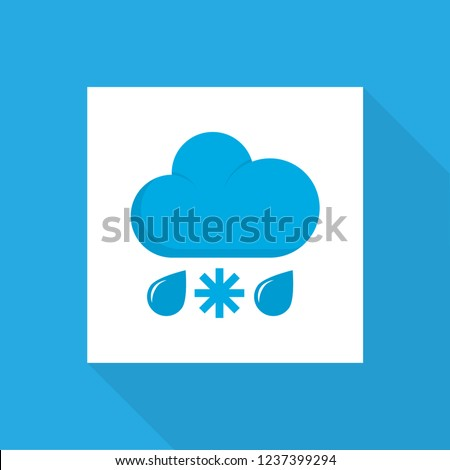 Rain-snow icon flat symbol. Premium quality isolated drizzles element in trendy style.