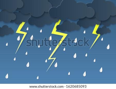 rain thunder lightning paper