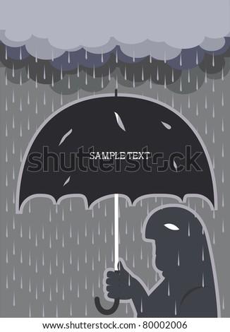 Rain .Vector man with broken umbrella background for text