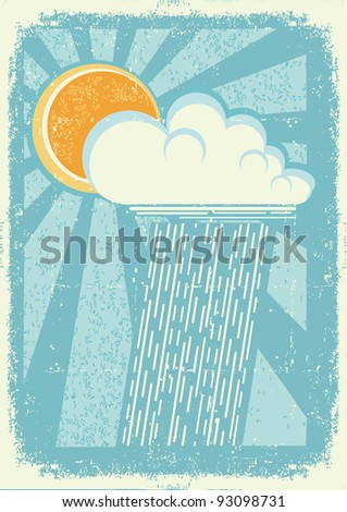 Rain.Vector vintage card with raining sky on old paper texture