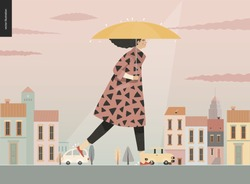 Rain -walking girl -modern flat vector concept illustration of a young brunette woman wearing a coat, with umbrella, walking in the rain in the street, in front of city houses and cars.