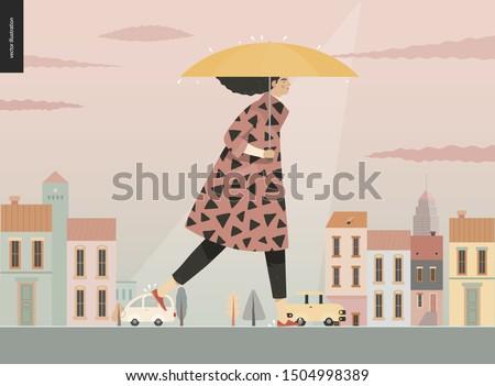 rain  walking girl  modern flat