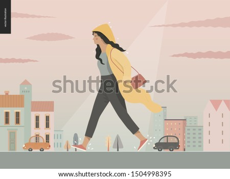 rain   walking girl wearing
