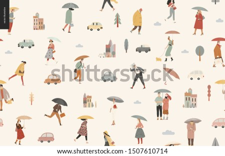 Rain -walking people seamless pattern -modern flat vector concept illustration of people with umbrella, walking or standing in the rain in the street, city houses and cars.