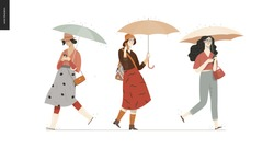 Rain - walking people set - modern flat vector concept illustration of people with umbrella, walking or standing in the rain in the street
