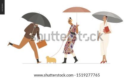 rain   walking people set