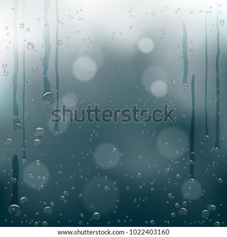 rain water drops flow down on