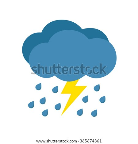rain with storm weather icon