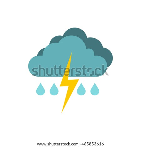 Rain with thunderstorm icon logo. Flat illustration of thunderstorm vector icon isolated on white background. Weather symbol