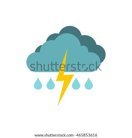 Rain with thunderstorm icon logo. Flat illustration of thunderstorm vector icon isolated on white background. Weather symbol