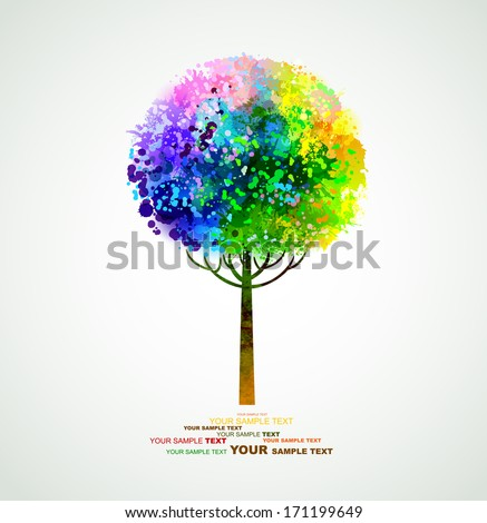 rainbow abstract tree forming