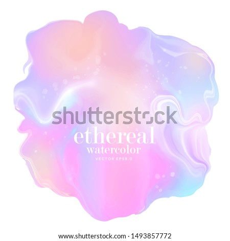rainbow alcohol ink stain. soft pastel watercolor splash. iridescent holographic vector design element. abstract 3d colorful blotch on white paper. mixed gradient colors ethereal background. eps 8