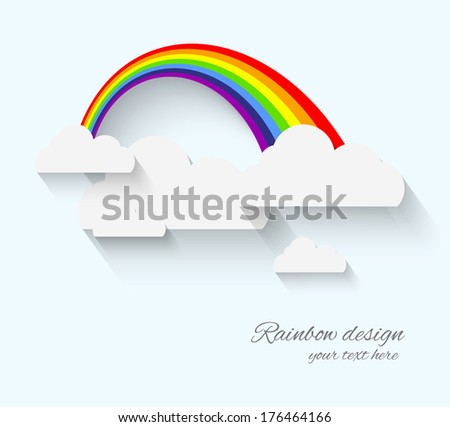 rainbow and clouds in flat