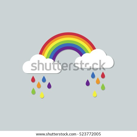 rainbow and raining clouds on