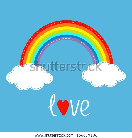 rainbow and two clouds in the