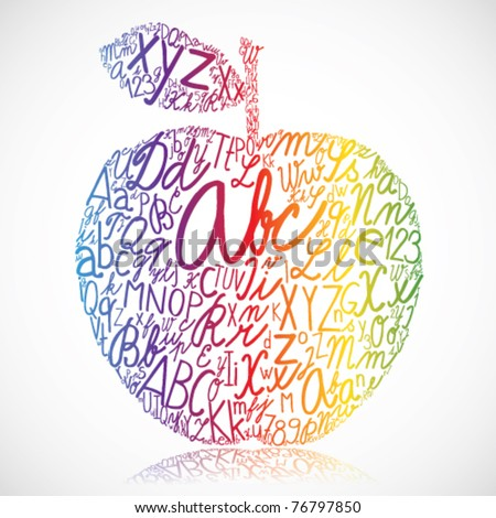rainbow apple made of alphabet