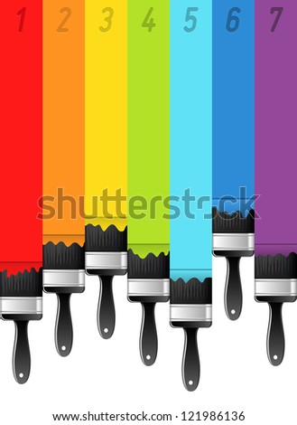 Rainbow background with brushes and numbers. Vector illustration.