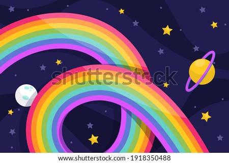 Rainbow. Background, with clouds. Gradient mesh, color rainbow, summer or spring blue sky wallpaper. Rainbow color spectrum. Good weather. Dream sign. Rainbow after rain. Vector illustration.