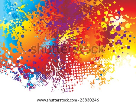 Rainbow background with ink splat effect with white paint - stock vector
