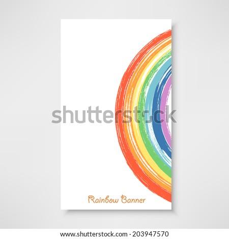 Rainbow banner.  Vector watercolor rainbow background
