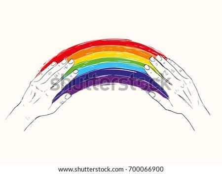 rainbow between two hands
