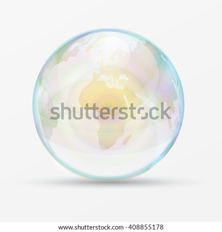 rainbow bubble world mapvector
