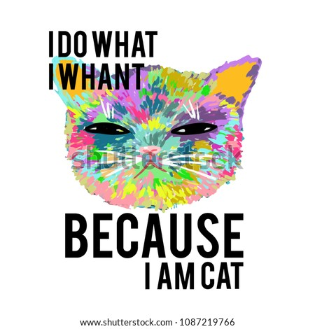 rainbow cat with slogan
