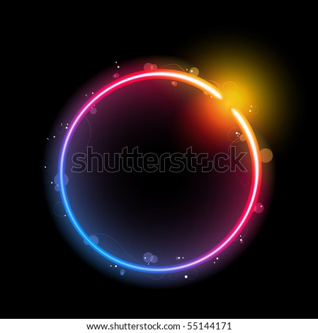 Rainbow Circle Border with Sparkles and Swirls. Editable Vector Illustration
