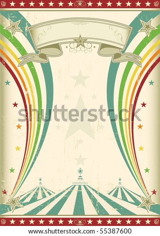 rainbow circus vintage poster A retro circus background for a poster with two rainbows