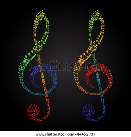 rainbow clefs from sheet music symbols