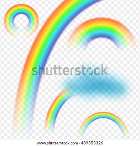 rainbow cloud realistic set on