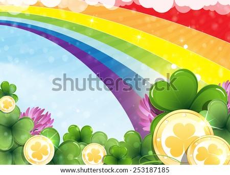 rainbow  clover and gold coins
