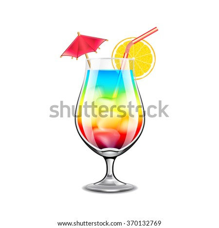 rainbow cocktail isolated on
