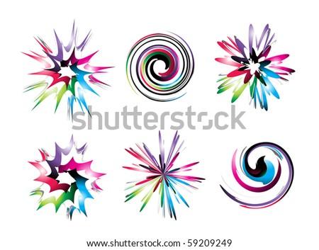 rainbow color design concept swirl icon set.