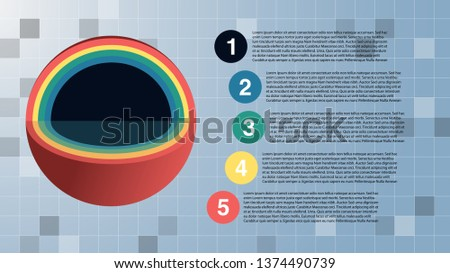 Rainbow color multi-layer of sphere with section view on square background. Design for presentation template consisting of 5 layers and options