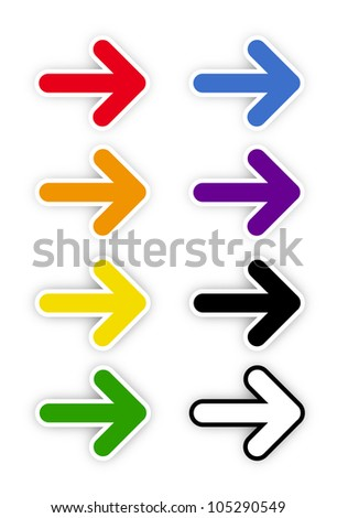Rainbow color on arrows on white background