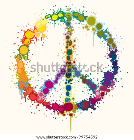 Rainbow color peace sign background