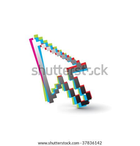 rainbow color vector mouse cursor symbol,vector illustration