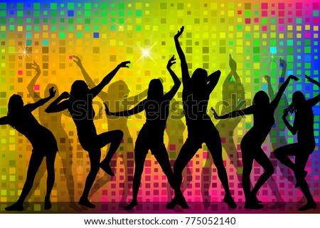 Rainbow colored Background and Silhouettes of dancing girls. Vec