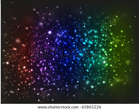 Rainbow-colored galaxy of stars with bright and blurry areas.